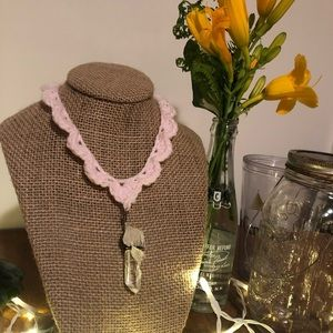homemade crochet necklace with crystal pendant